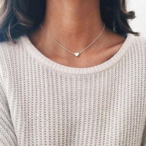 Jewelry - Silver Simple Heart Choker Necklace Pendant